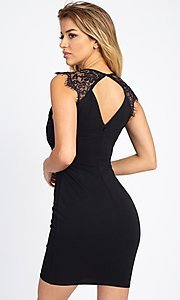 Image of sexy short cocktail party dress with lace detail. Style: LAS-IRI-21-BD04313 Detail Image 4