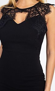 Image of sexy short cocktail party dress with lace detail. Style: LAS-IRI-21-BD04313 Detail Image 6