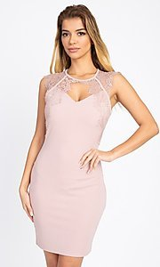 Image of sexy short cocktail party dress with lace detail. Style: LAS-IRI-21-BD04313 Front Image