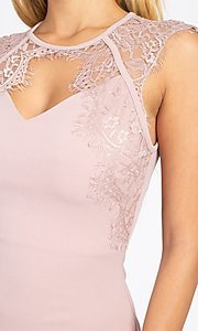 Image of sexy short cocktail party dress with lace detail. Style: LAS-IRI-21-BD04313 Detail Image 2