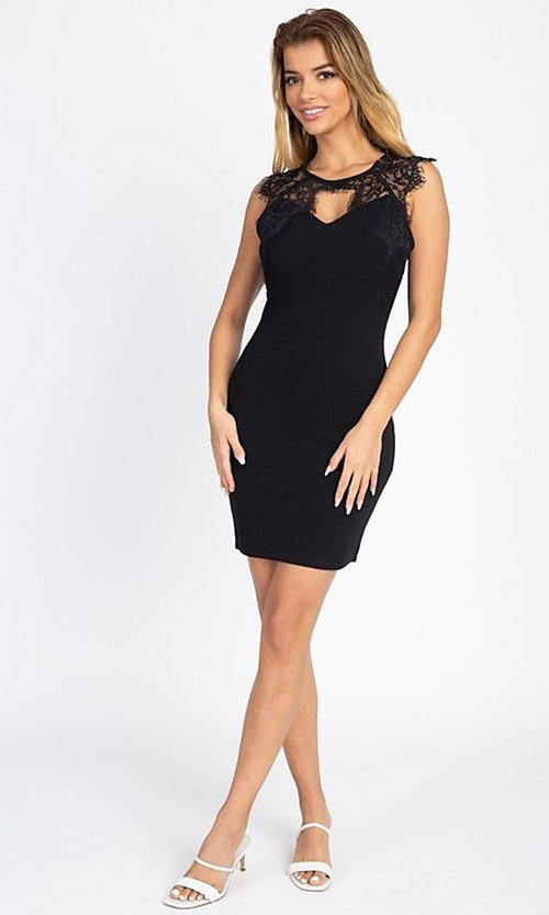 Image of sexy short cocktail party dress with lace detail. Style: LAS-IRI-21-BD04313 Detail Image 7