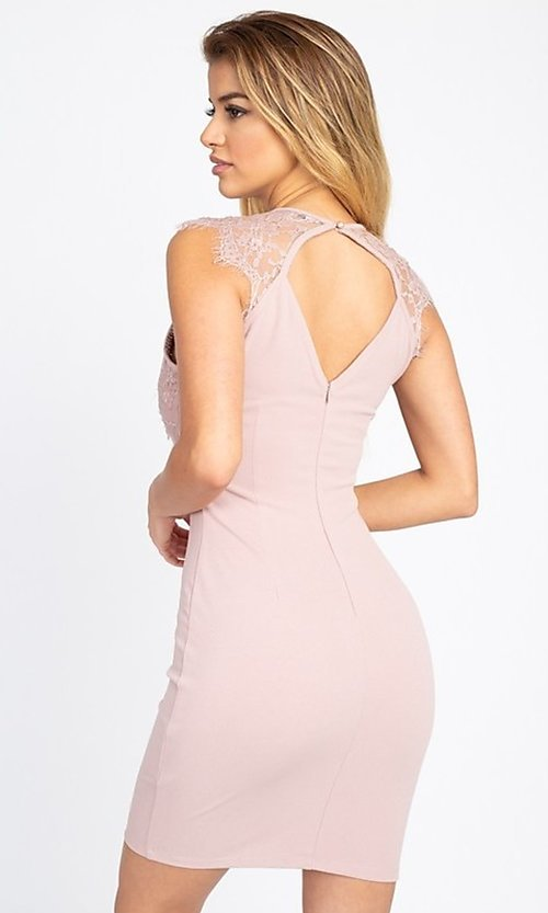 Image of sexy short cocktail party dress with lace detail. Style: LAS-IRI-21-BD04313 Back Image