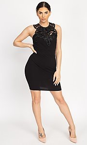 Image of fitted short party dress with embellished neckline. Style: LAS-IRI-21-BD04254 Detail Image 2