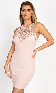 Image of fitted short party dress with embellished neckline. Style: LAS-IRI-21-BD04254 Detail Image 5