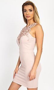 Image of fitted short party dress with embellished neckline. Style: LAS-IRI-21-BD04254 Detail Image 7