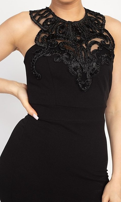 Image of fitted short party dress with embellished neckline. Style: LAS-IRI-21-BD04254 Detail Image 4
