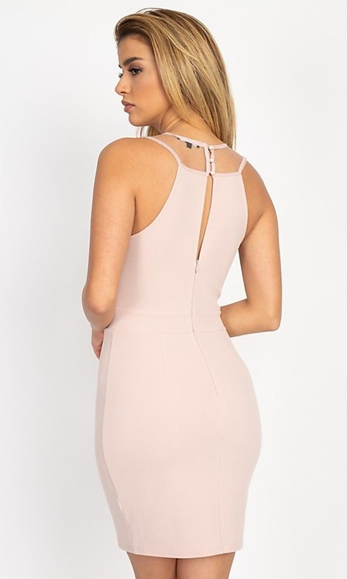 Image of fitted short party dress with embellished neckline. Style: LAS-IRI-21-BD04254 Back Image