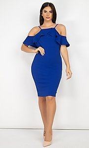 Image of off-the-shoulder wedding-guest short party dress. Style: LAS-IRI-21-HMD10334 Detail Image 1