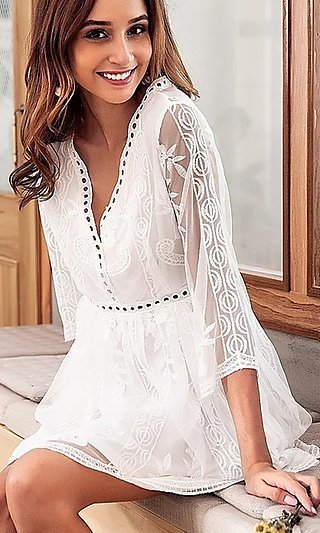Little White Casual Short Dress with Embroidery