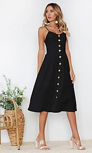 Image of button-down a-line white casual midi dress. Style: FG-MLD-21-CHD354402 Detail Image 2