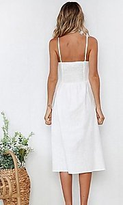 Image of button-down a-line white casual midi dress. Style: FG-MLD-21-CHD354402 Back Image