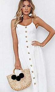 Image of button-down a-line white casual midi dress. Style: FG-MLD-21-CHD354402 Detail Image 1