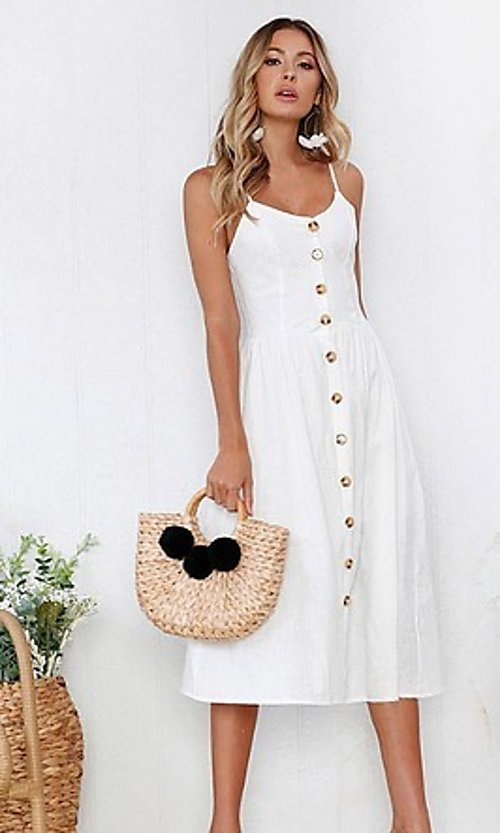 Image of button-down a-line white casual midi dress. Style: FG-MLD-21-CHD354402 Front Image