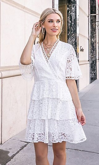 Tiered Ivory White Short A-Line Lace Party Dress