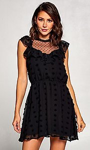 Image of short semi-formal a-line party dress with ruffle. Style: FG-ST-21-D-2059-H-C Front Image