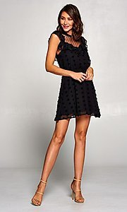 Image of short semi-formal a-line party dress with ruffle. Style: FG-ST-21-D-2059-H-C Detail Image 1