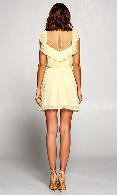 Image of short semi-formal a-line party dress with ruffle. Style: FG-ST-21-D-2059-H-C Detail Image 3