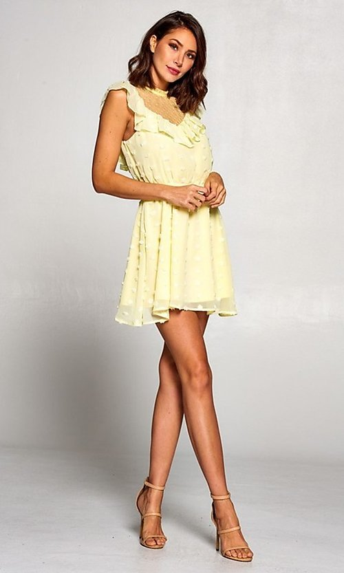 Image of short semi-formal a-line party dress with ruffle. Style: FG-ST-21-D-2059-H-C Detail Image 4