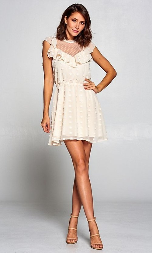 Image of short semi-formal a-line party dress with ruffle. Style: FG-ST-21-D-2059-H-C Detail Image 7