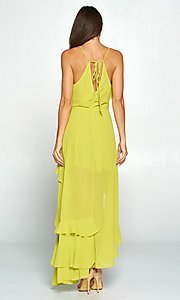 Image of asymmetrical wrap-style high-low party dress. Style: FG-ST-21-D-1458-H Back Image