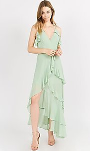 Image of asymmetrical wrap-style high-low party dress. Style: FG-ST-21-D-1458-H Detail Image 4