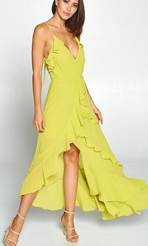 Image of asymmetrical wrap-style high-low party dress. Style: FG-ST-21-D-1458-H Detail Image 1