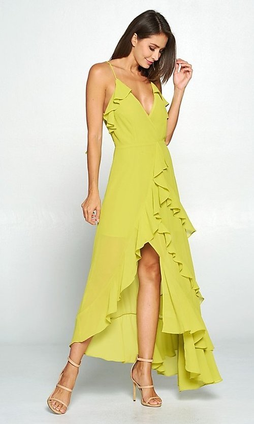 Image of asymmetrical wrap-style high-low party dress. Style: FG-ST-21-D-1458-H Detail Image 2