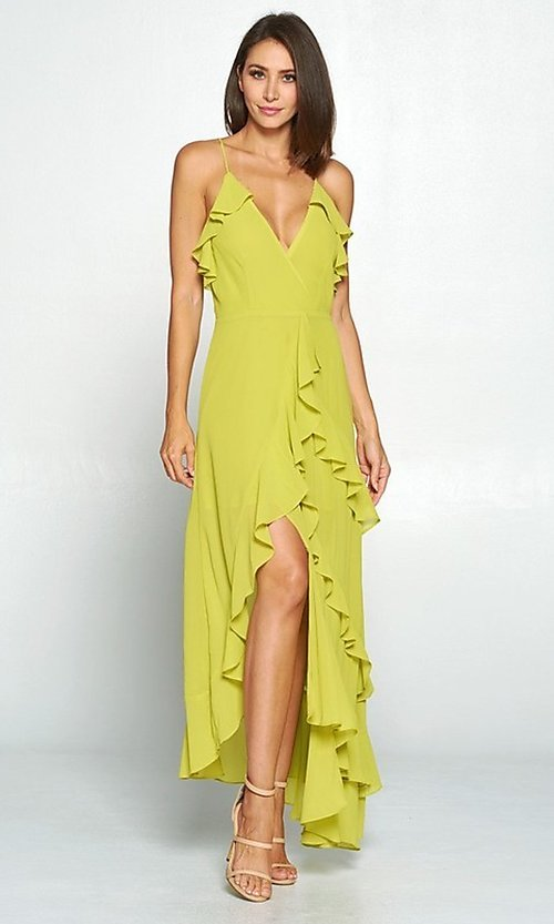 Image of asymmetrical wrap-style high-low party dress. Style: FG-ST-21-D-1458-H Detail Image 3