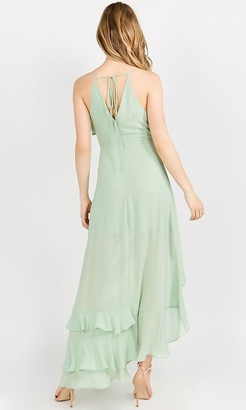 Image of asymmetrical wrap-style high-low party dress. Style: FG-ST-21-D-1458-H Detail Image 5