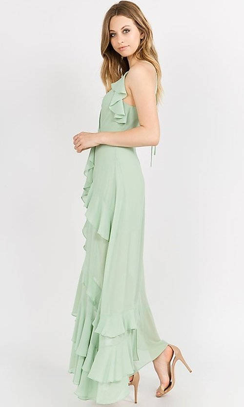 Image of asymmetrical wrap-style high-low party dress. Style: FG-ST-21-D-1458-H Detail Image 6