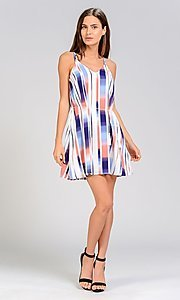 Image of short print casual party dress with tassel belt. Style: FG-ST-21-D-1188-B-1 Detail Image 2