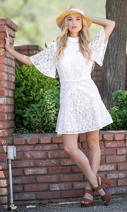 Image of white lace short flutter sleeve party dress. Style: FG-ST-21-D-2079-H Front Image