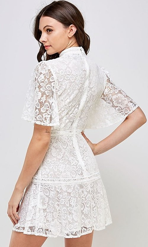 Image of white lace short flutter sleeve party dress. Style: FG-ST-21-D-2079-H Back Image