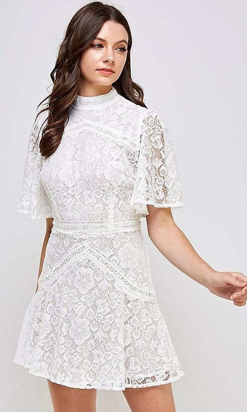 Image of white lace short flutter sleeve party dress. Style: FG-ST-21-D-2079-H Detail Image 1