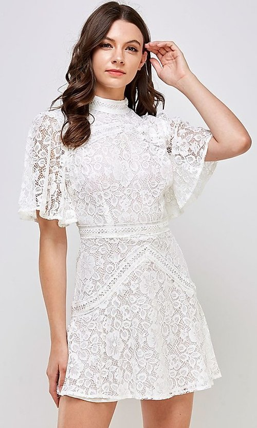 Image of white lace short flutter sleeve party dress. Style: FG-ST-21-D-2079-H Detail Image 2