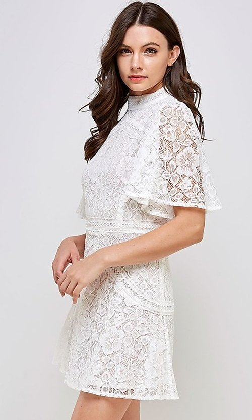 Image of white lace short flutter sleeve party dress. Style: FG-ST-21-D-2079-H Detail Image 3