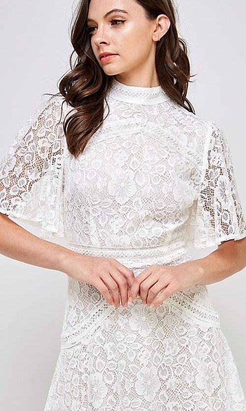 Image of white lace short flutter sleeve party dress. Style: FG-ST-21-D-2079-H Detail Image 4