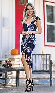 Image of floral-print navy blue sexy midi cocktail dress. Style: FG-ST-21-DB-1712-H Front Image