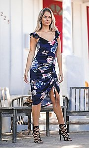 Image of floral-print navy blue sexy midi cocktail dress. Style: FG-ST-21-DB-1712-H Detail Image 1