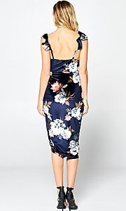 Image of floral-print navy blue sexy midi cocktail dress. Style: FG-ST-21-DB-1712-H Detail Image 7