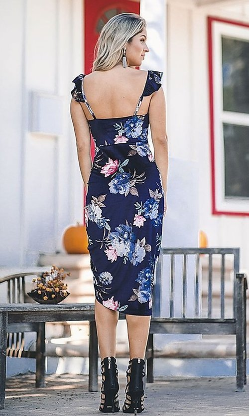 Image of floral-print navy blue sexy midi cocktail dress. Style: FG-ST-21-DB-1712-H Back Image