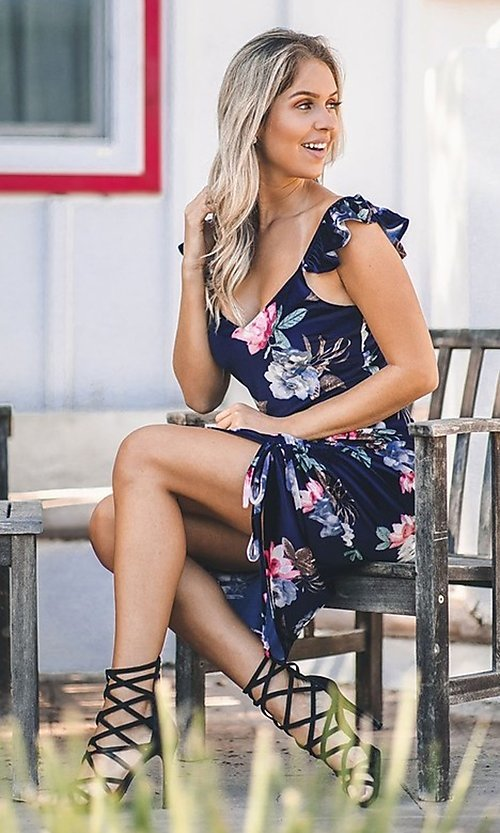 Image of floral-print navy blue sexy midi cocktail dress. Style: FG-ST-21-DB-1712-H Detail Image 5