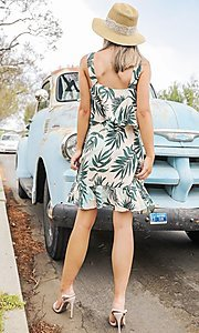 Image of faux-wrap short leaf print casual summer dress. Style: FG-ST-21-DB-1775-H Back Image