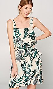 Image of faux-wrap short leaf print casual summer dress. Style: FG-ST-21-DB-1775-H Detail Image 1