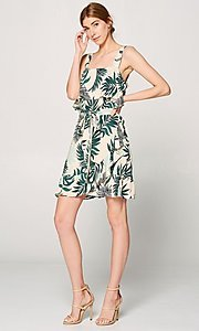 Image of faux-wrap short leaf print casual summer dress. Style: FG-ST-21-DB-1775-H Detail Image 2