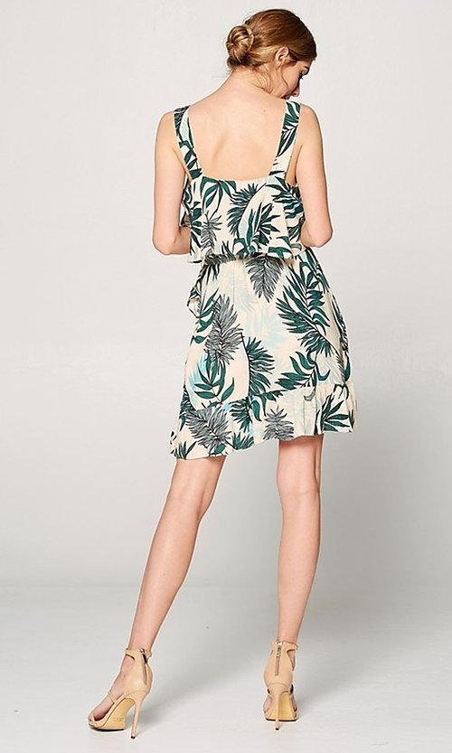 Image of faux-wrap short leaf print casual summer dress. Style: FG-ST-21-DB-1775-H Detail Image 3