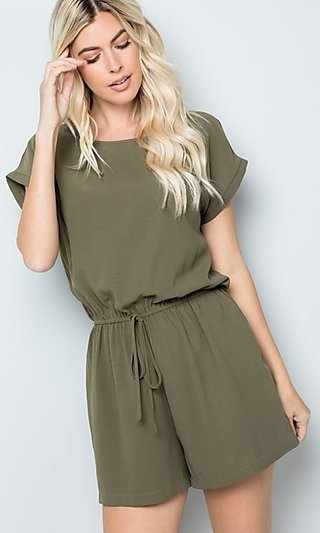 Olive Green Casual Romper with Drawstring Waist