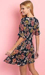 Image of a-line floral-print short casual button-up dress. Style: FG-CLC-21-D1248HF-R Back Image
