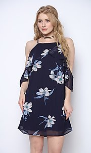 Image of navy blue print short wedding-guest party dress. Style: FG-CLC-21-D94992GSCL Front Image