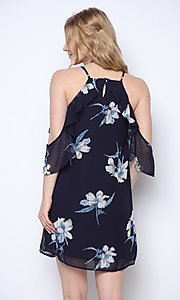 Image of navy blue print short wedding-guest party dress. Style: FG-CLC-21-D94992GSCL Back Image